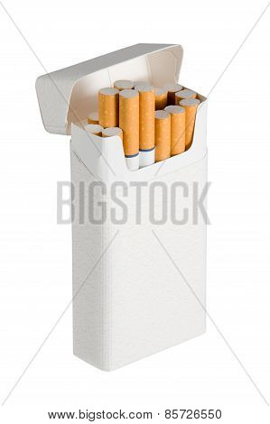 Photograph of a pack of filtered cigarettes with blue rings. Oblique view with a few cigarettes sticking out of box. Isolated on a white background. Copy space on cigarette pack. poster