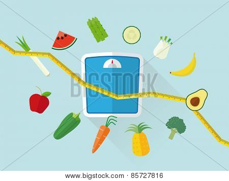 Flat Design Diet Concept. Fresh fruit and vegetables icons swirling around scales and tape measure resembling declining line graph poster