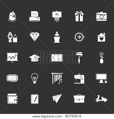 Art And Creation Icons On Gray Background