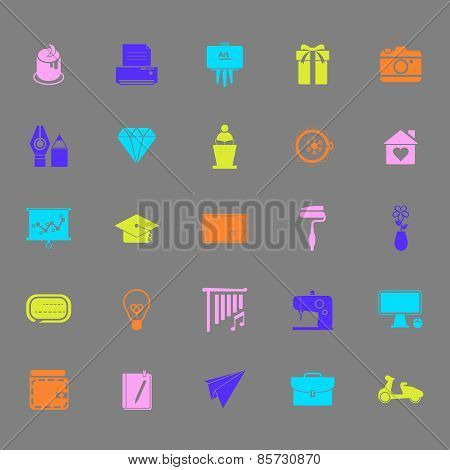 Art And Creation Color Icons On Gray Background