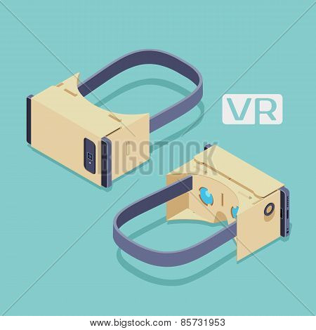 Isometric cardboard virtual reality headset