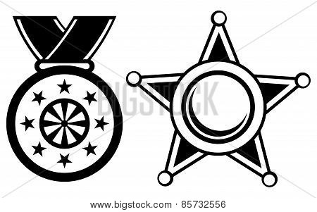 Sheriff badge and medal with ribbon