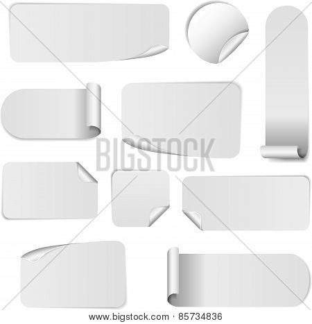 Set Of Blank White Paper Stickers