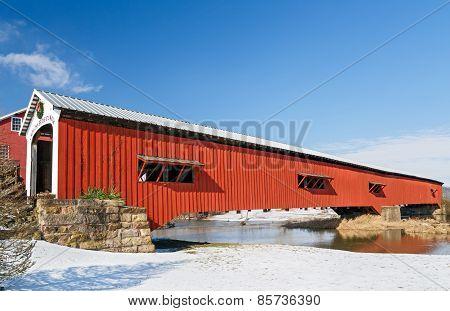 Bridgeton Covered Bridge At Christmas