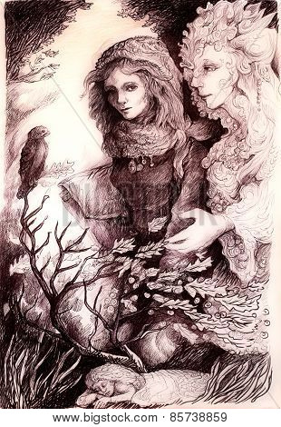 Young Girl In Autumn Walk Conversation With Her Elven Fairy Friend, Wind, Bird And Leaves, Monochrom