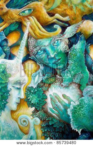 Emerald Green Elven Creature In A Fairy Realm,beautiful Colorful Fantasy Detailed Painting