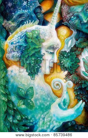 Beautiful fantasy colorful painting of a radiant elven fairy creatures and energy lights an insight in a fairy realm poster