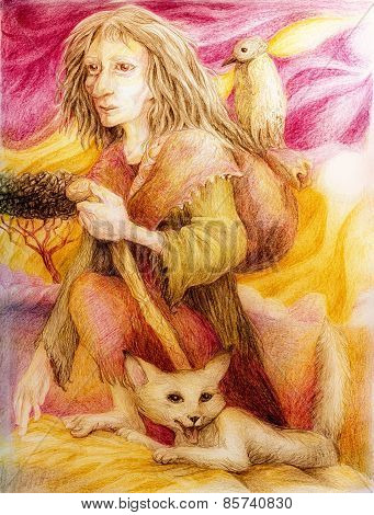 Ancient Pilgrim Woman With White Fox And A Bird, Detailed Colorful Artwork