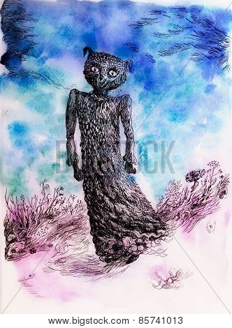 Dream creature detailed colorful artwork in blue and purple poster