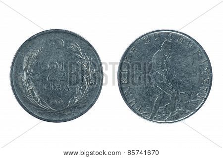 Turkey Coin  Isolated On White
