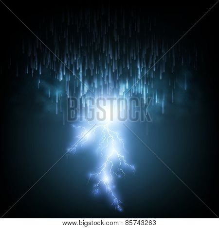 Thunderstorm Background With Rain and Lightning,