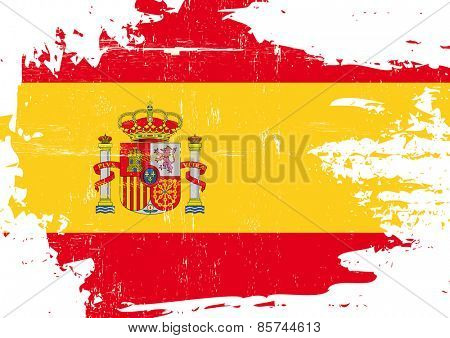 Scratched Spanish Flag. A flag of Spain with a grunge texture