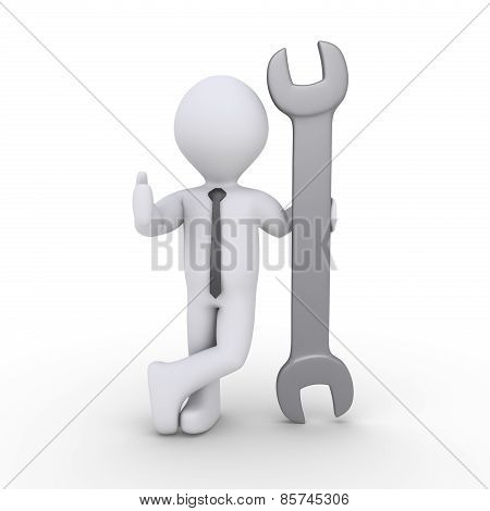 Businessman Is Holding A Wrench