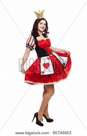 The Queen of Spades. Creative young lady in black and red colors dress