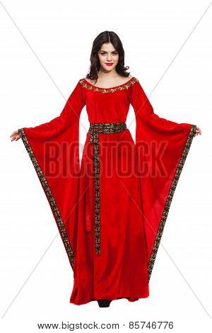 Ancient godness in a red greece toga isolated on white background
