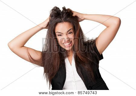 angry young woman isolated on white