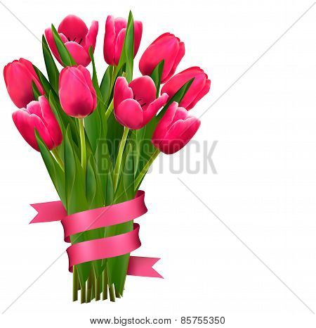 Holiday Background With Bouquet Of Pink Flowers And Ribbons.