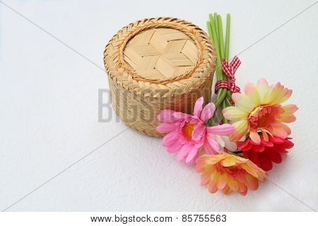 Bamboo Container For Glutinous Rice On White Background