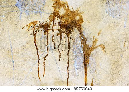 Creative Background Yellow Concrete Wall With Cracks And Scratches Doused With Brown Paint Splashes
