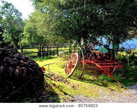Antique Hay Rake on Irish Farm