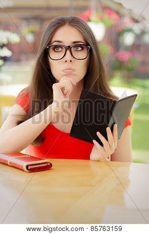 Sad Woman Checking Restaurant Bill