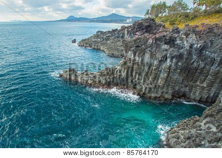 Jungmun Daepo Coast With Columnar Joints At Jeju Island, South Korea