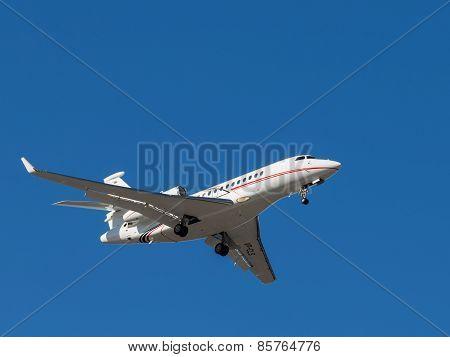 Falcon 7X Is Landing At Sheremetyevo