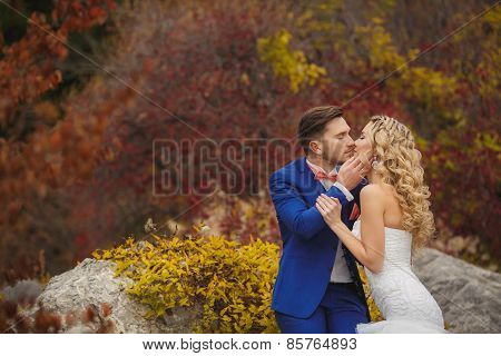 The groom kisses the bride in a green Park in the summer.