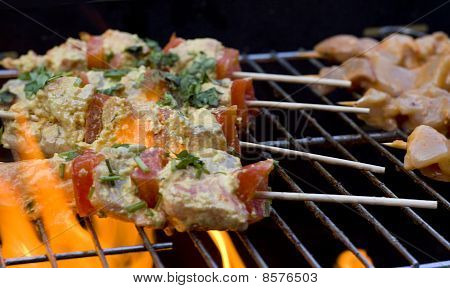 Bbq Chicken Kebabs On The Grill