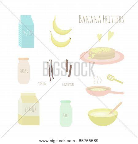 Recipe For Making Banana Fritters. Vector Illustration