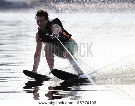 Athlete Waterskiing