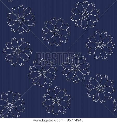 Traditional Japanese Embroidery Ornament with blooming sakura flowers. Sashiko. Seamless vector.