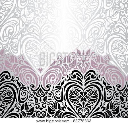 Pink silver and black wedding vintage invitation background