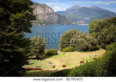 View of beautiful park of Villa Melzi Lake Como Italy poster