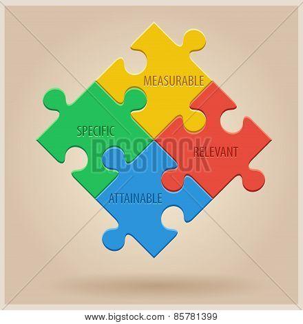 Four Colourful Puzzle Pieces. Business infographic