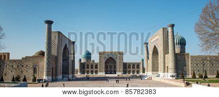 SAMARQUAND, UZBEKISTAN - MARCH 14, 2015: Registan square. The ancient city is part of UNESCO World Heritage.
