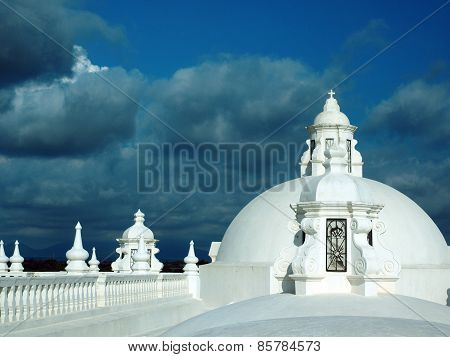 White Washed Roof Top Cathedral Of Leon Nicaragua Central America