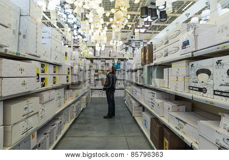 MOSCOW, RUSSIA - MARCH 03, 2015. Interior of Leroy Merlin Store. Leroy Merlin is a French home-impro
