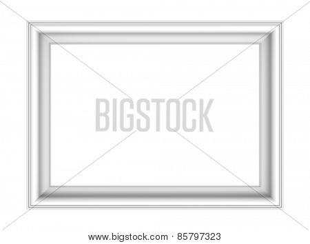 White picture frame isolated over white. Computer generated 3D photo rendering.