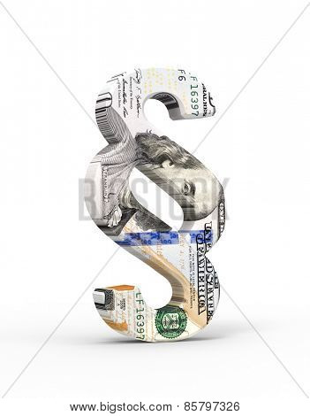 Paragraph sign with dollar bill isolated over white. Computer generated 3D photo rendering.