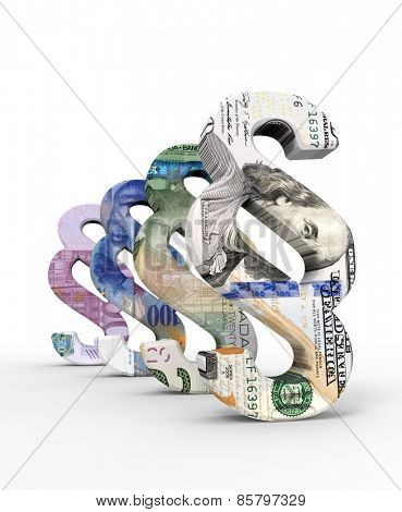Paragraph sign with dollar, euro and francbills isolated over white. Computer generated 3D photo rendering.