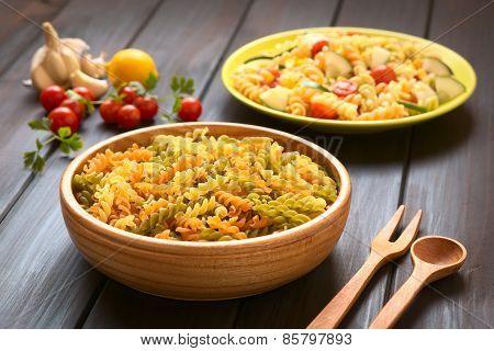Raw Fusilli or Rotini Pasta