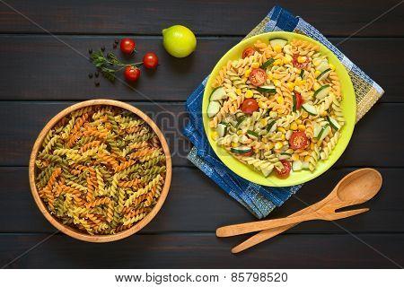 Raw Fusilli Pasta and Vegetarian Pasta Salad