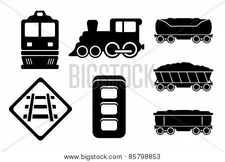 Set Rail Road Black Silhouette