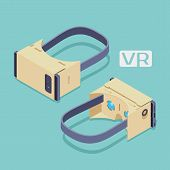 Set of the isometric cardboard virtual reality headsets. The objects are isolated against the teal background and shown from two sides poster