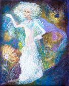 White fairy woman spirit in bright dress on abstract colorful magical background detailed multicolor painting abstract pattern poster