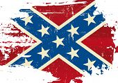 Scratched Confederate Flag. A Civil War flag with a grunge texture poster