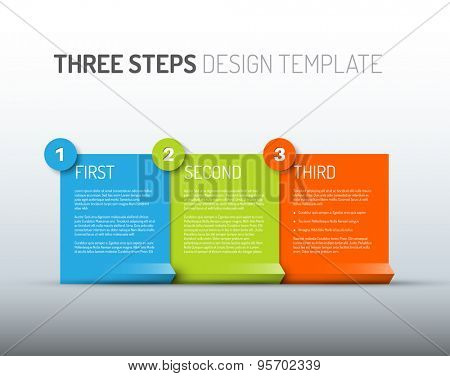 Vector Paper Progress design template with three steps