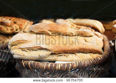 traditional geman farmhouse bread on a market