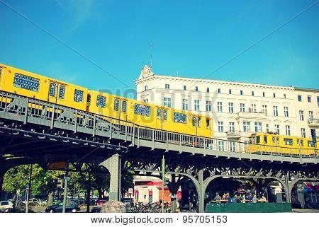 Berlin Schlesisches Tor and Metro U-Bahn in summer